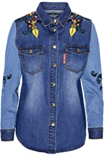 Highly Preppy Camisa Vaquera con Bordado pájaros para Mujer