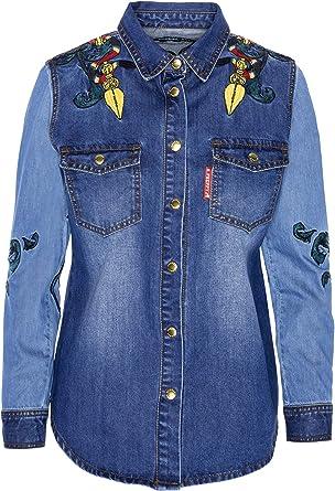 Highly Preppy Camisa Vaquera elástica con Bordados para Mujer - Talla L: Amazon.es: Ropa y accesorios