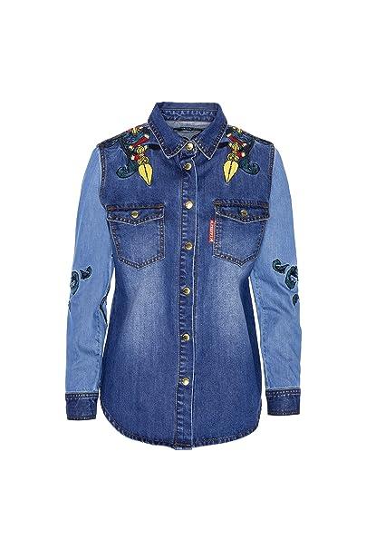 e75c6357a151 Highly Preppy Camisa Vaquera con Bordado pájaros para Mujer: Amazon ...