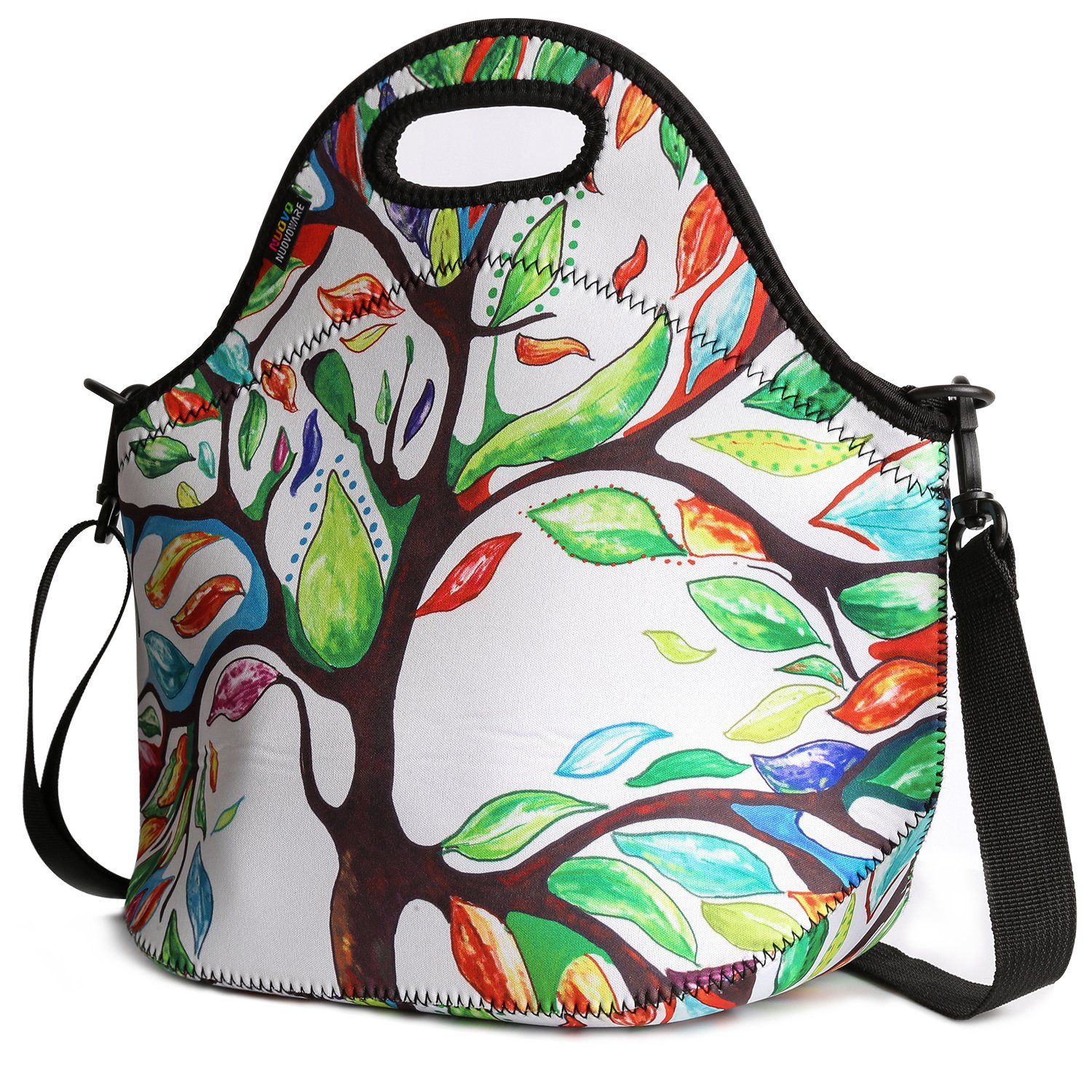 Insulated Lunch Bag, Nuovoware Neoprene Lunch Tote Reusable Picnic Bag Soft Thermal Cooler Tote Multi-purpose Grocery Container with Adjustable Crossbody Strap, Zip Closure, Starry Night LY-3635