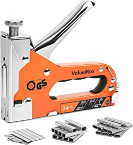 ValueMax Staple Gun, Heavy Duty 3-in-1, Manual Nail Gun with 3000 Staples, Upholstery Stapler for Furniture, Carpet, Carpentry, Wood, DIY, Wire, Decoration, Craft, Fixing Material