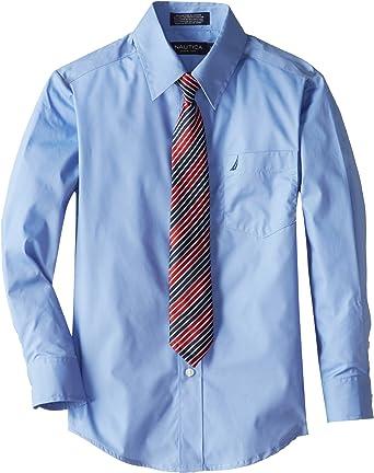 NEW Nautica Boys Size 12 Regular Blue Stripe Long Sleeve Cotton Mix Dress Shirt