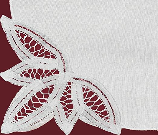 White Battenburg Lace Cotton 12-Piece Napkin Set | http://christmastablescapedecor.com/elegant-silver-table-setting/