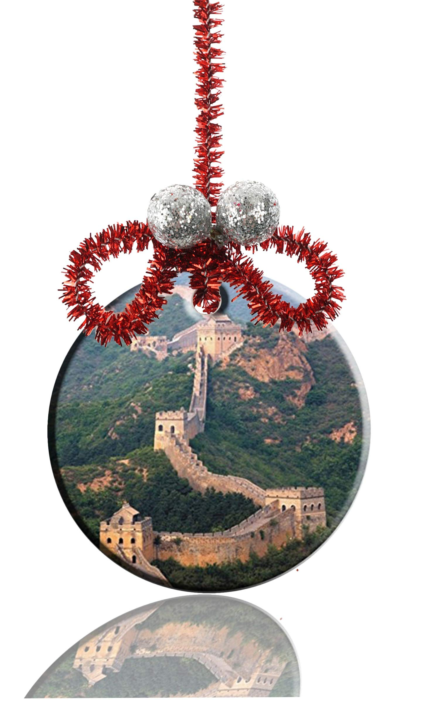 RUNDO Great Wall of China Photo Custom Personalized New Ceramic Porcelain Hanging Round Christmas Ornaments