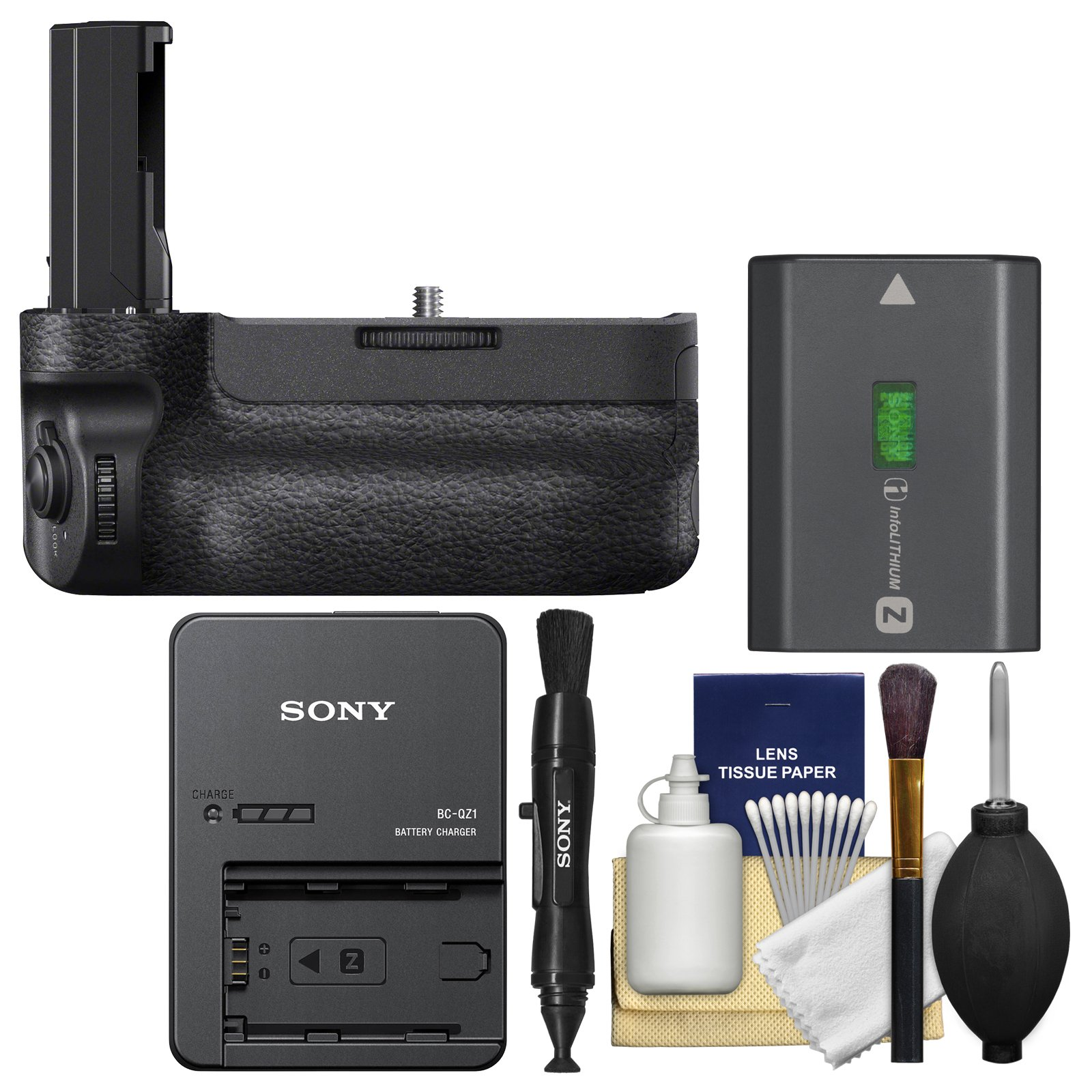 Sony VG-C3EM Vertical Battery Grip for Alpha A7R III & A9 Camera with Battery & Charger + Cleaning Kit