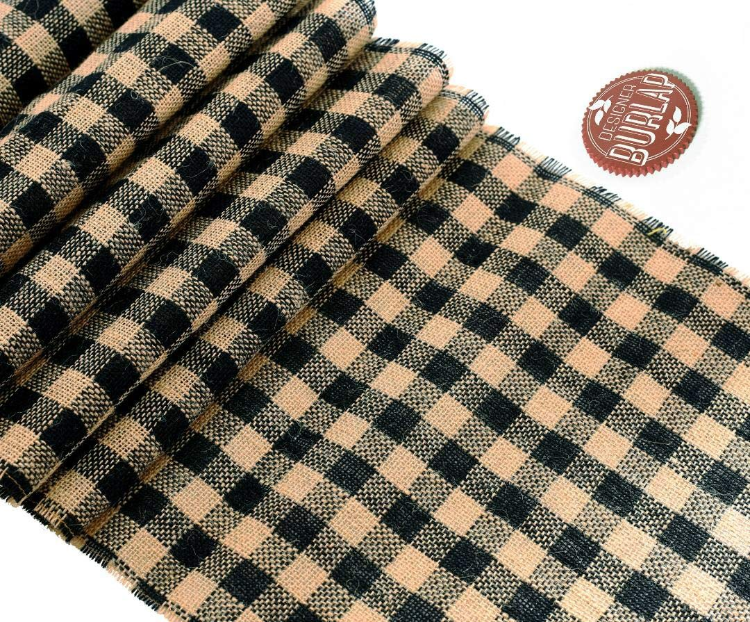 """Buffalo Check Burlap Table Runner - Farmhouse Primitive Country Decor for Home and Kitchen. Authentic, Natural Burlap. Perfect Plaid Burlap Table Runner for That Simple Rustic Look 14""""x 108""""."""