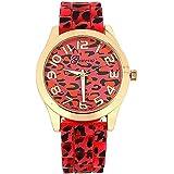 Montre Fantaisie Femme Rouge/Rose/Ton Or Rose Bracelet Silicone Imprimé Léopard