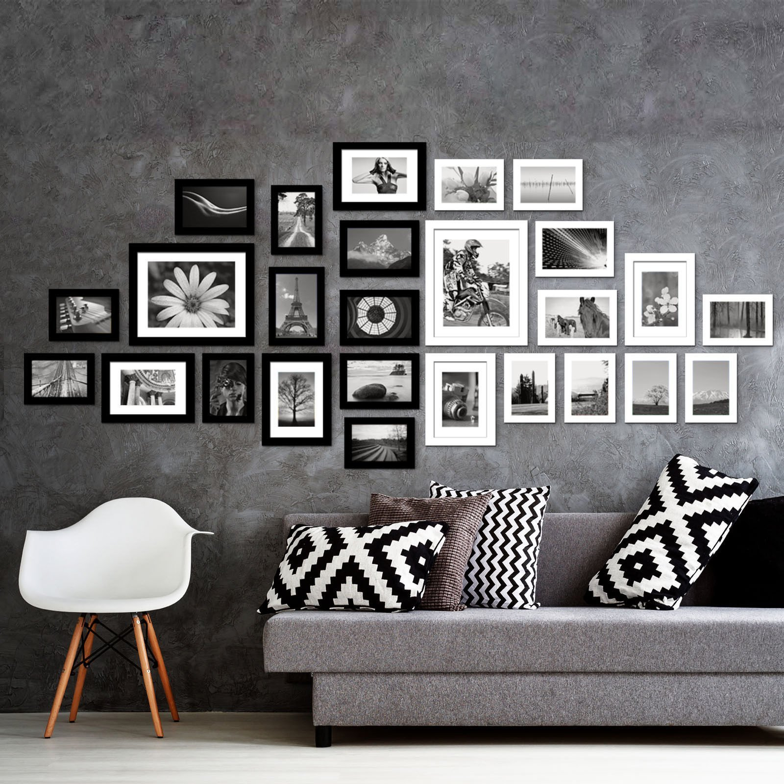 Voilamart Picture Frames Set of 26, Multi Pack Photo Frame Set Wall Gallery Kit - Display Two 8x10 in, Five 5x7 in, Nineteen 4x6 in, with Wall Template and Hanging Hardware, Black White by Voilamart