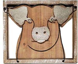 Beltrami Farmhouse Kitchen Decor Pig Wall Plaque, Wood and Metal, 19-inches