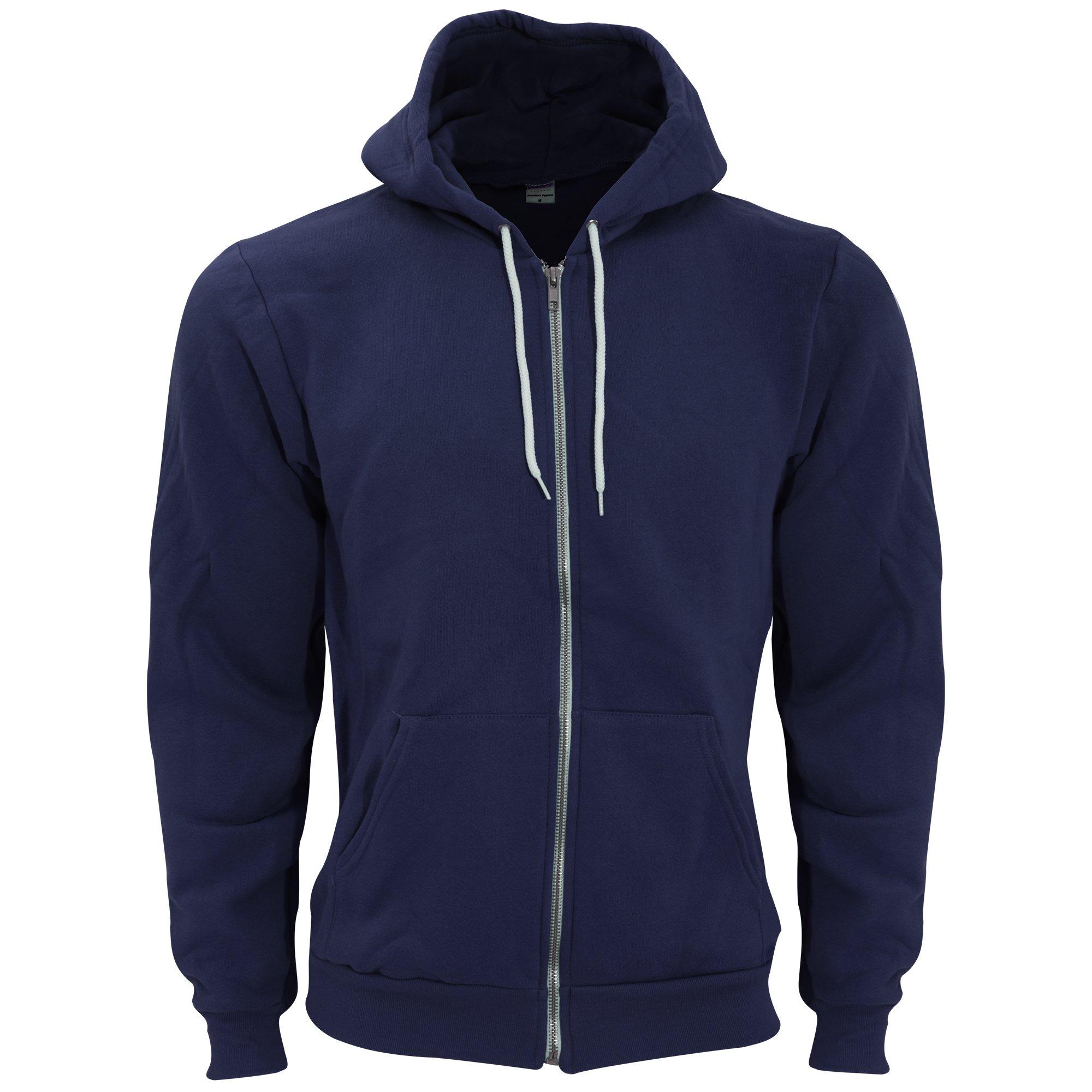 American Apparel Unisex Flex Plain Full Zip Fleece Hoodie (M) (Navy)