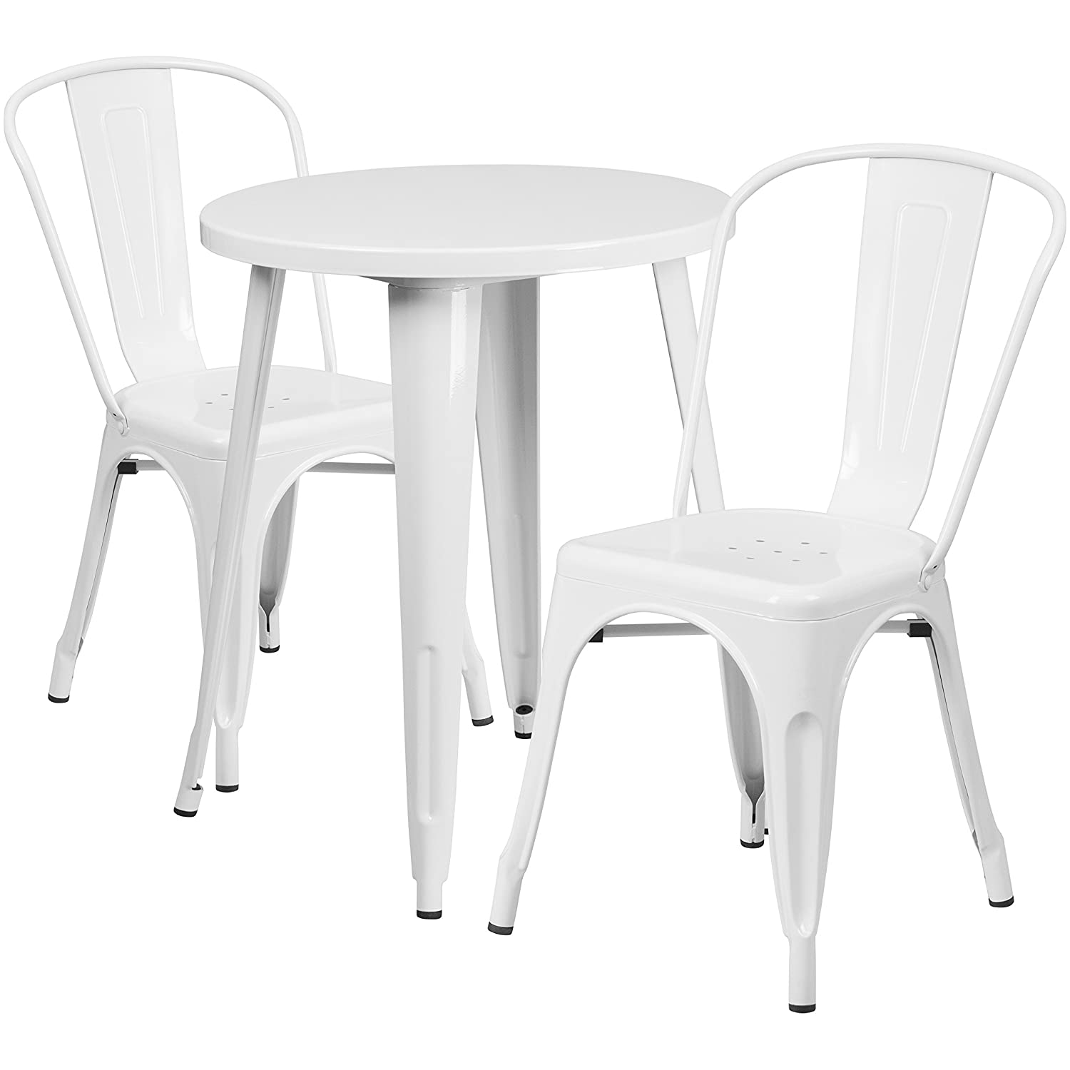 Amazon com flash furniture 24 round white metal indoor outdoor table set with 2 cafe chairs kitchen dining