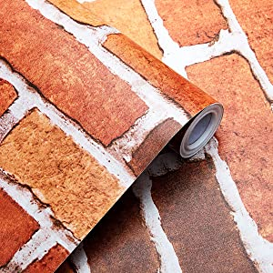 SUNBABY Peel and Stick Wallpaper Removable Wallpaper Red Bricks Wallpaper Self-Adhesive Wall Decor for Christmas Party Home Refurbish Decoration (17.71'' X 118.11'')
