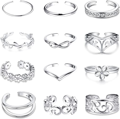 Pack of TEN toe rings summer jewellery accessories gold tone and silver tone