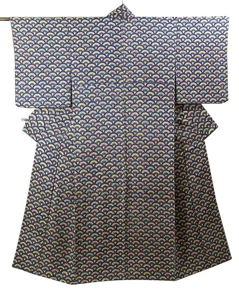 リサイクル 着物 小紋 菊青海波に梅の花模様 正絹 袷 裄65.5cm 身丈159cm B07DPJK9C1  -