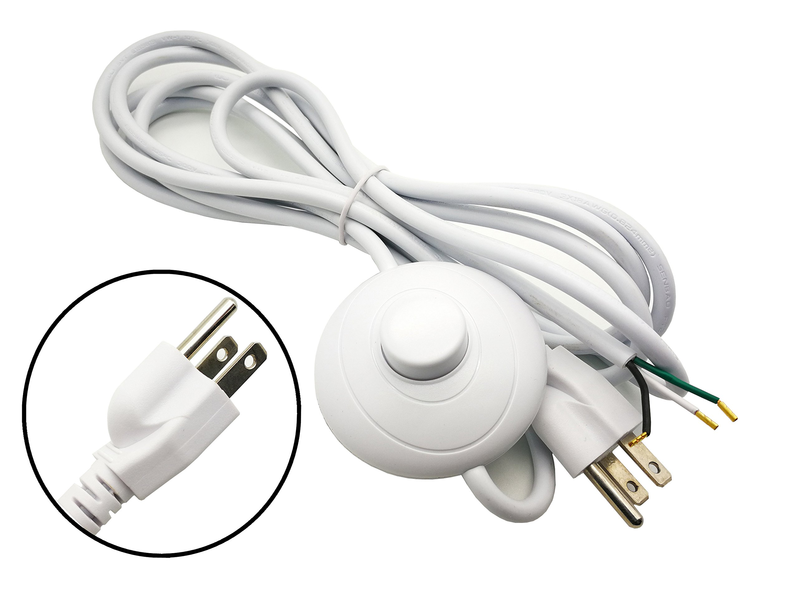 FINE COMMODITIES US Plug SVT 3×18AWG 3M Power Cord on/off Button Switch AC110V 10-15A,White Environmental Protection Materials