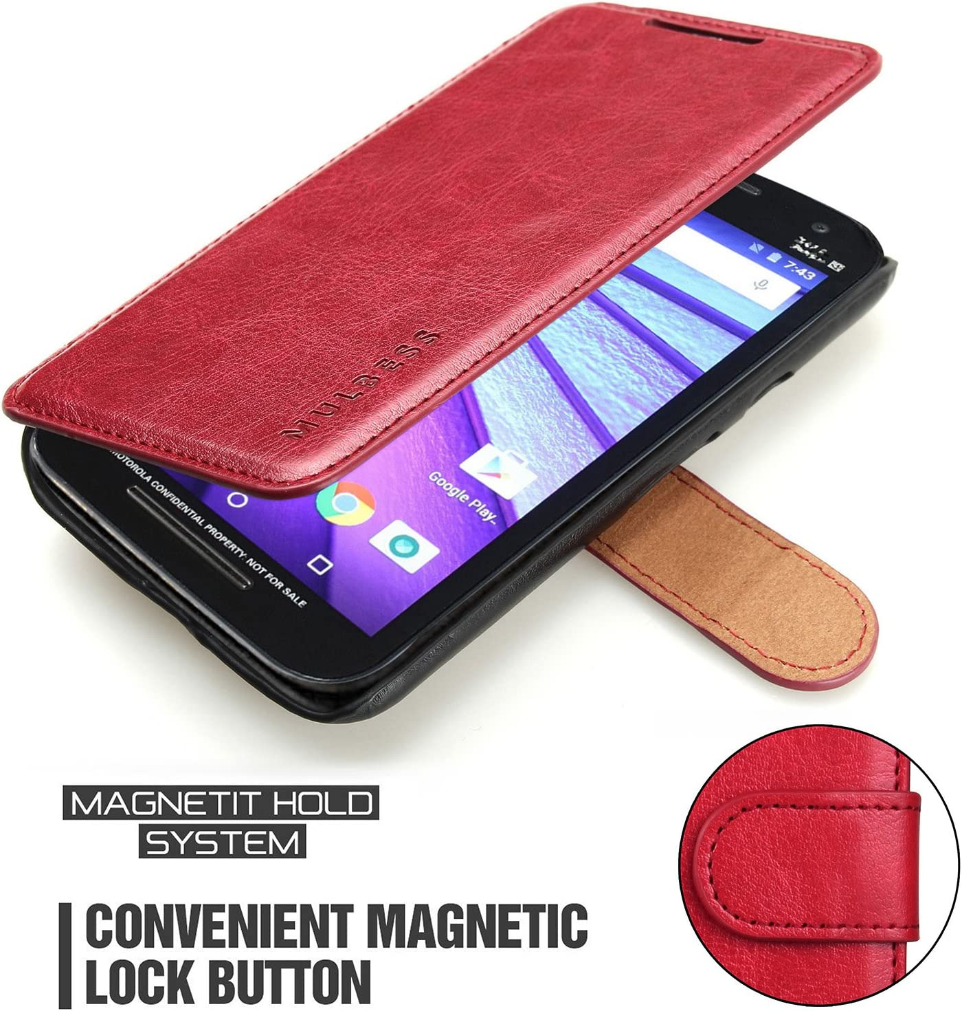 Mulbess Layered Motorola Moto G5 Leather Case,Flip Phone Case Wallet with Magnetic Clasp for Motorola Moto G5 Cover, Wine Red