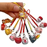EatingBiting(R)12Pcs Random Fortune Lucky Japanese Beckoning Cat Maneki Neko Keyring Keychain Key Rings, Fengshui…