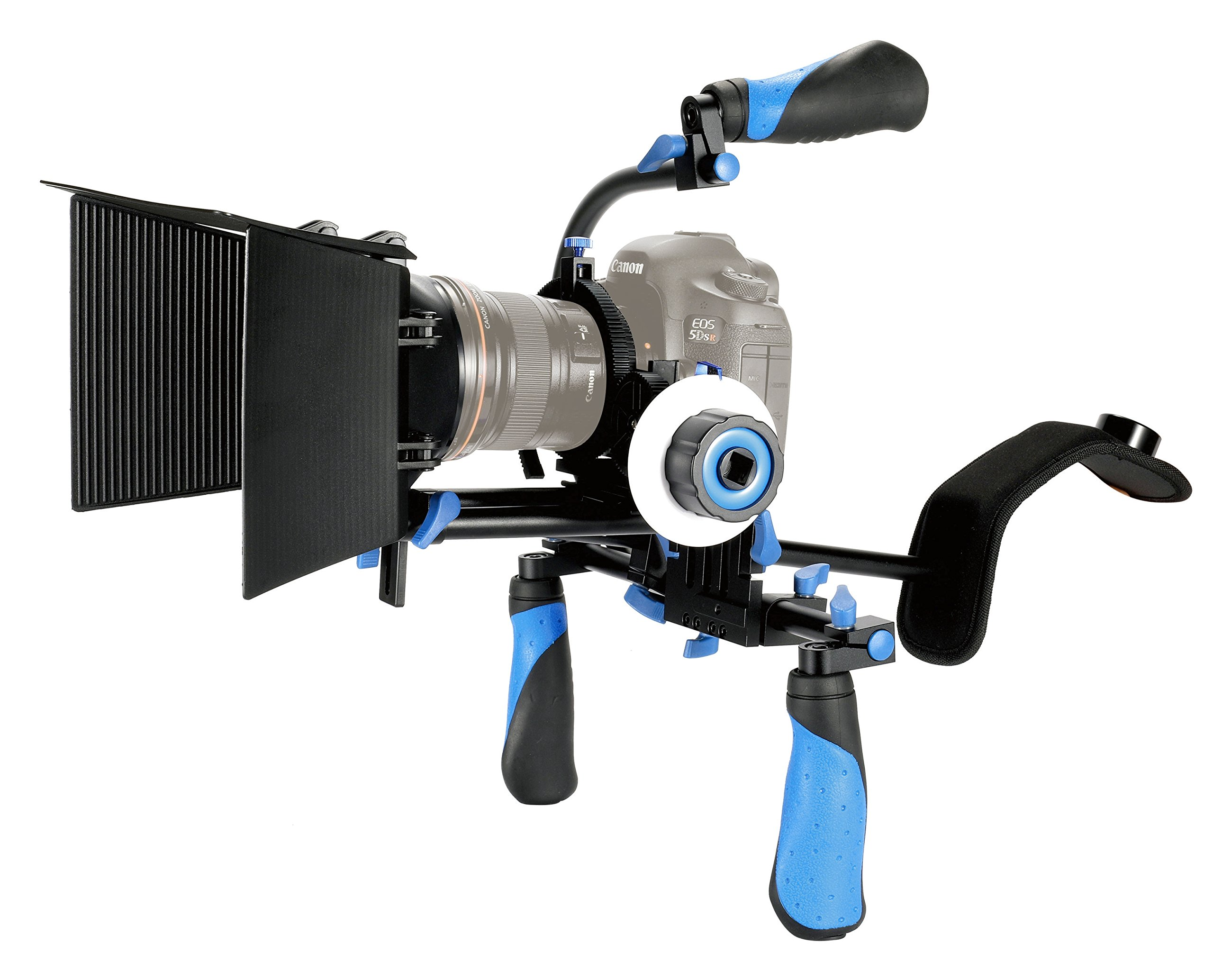 eimo DSLR Rig Set Movie Kit shoulder mount rig with Follow Focus and Matte Box and Top handle for All DSLR Cameras and Video Camcorders by SunSmart