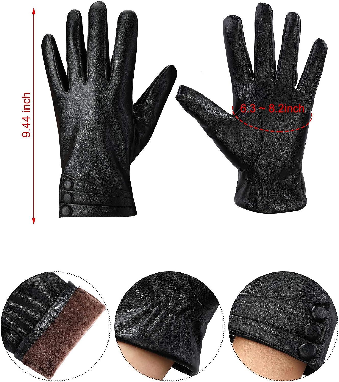 SATINIOR 2 Paar Damen Winter Leder Handschuhe Touchscreen SMS Handschuhe Winter Warme Handschuhe f/ür Damen Farbe 1