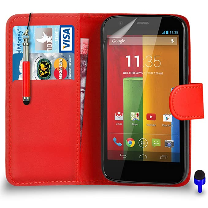 Motorola Moto G prämie (piel Flip Caso cubrir bolsa + Retractable ...