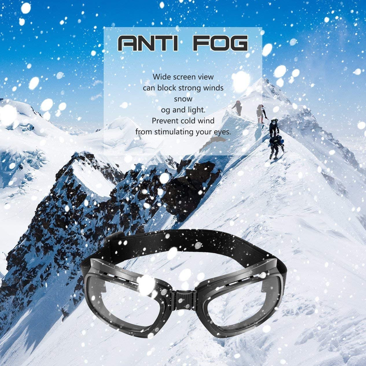 BCVBFGCXVB Gafas Plegables de Motocicleta Vintage Gafas a Prueba de Viento Gafas de Snowboard de esqu/í Gafas de Carreras Fuera de Carretera Gafas a Prueba de Polvo Marco Negro y Lente Transparente