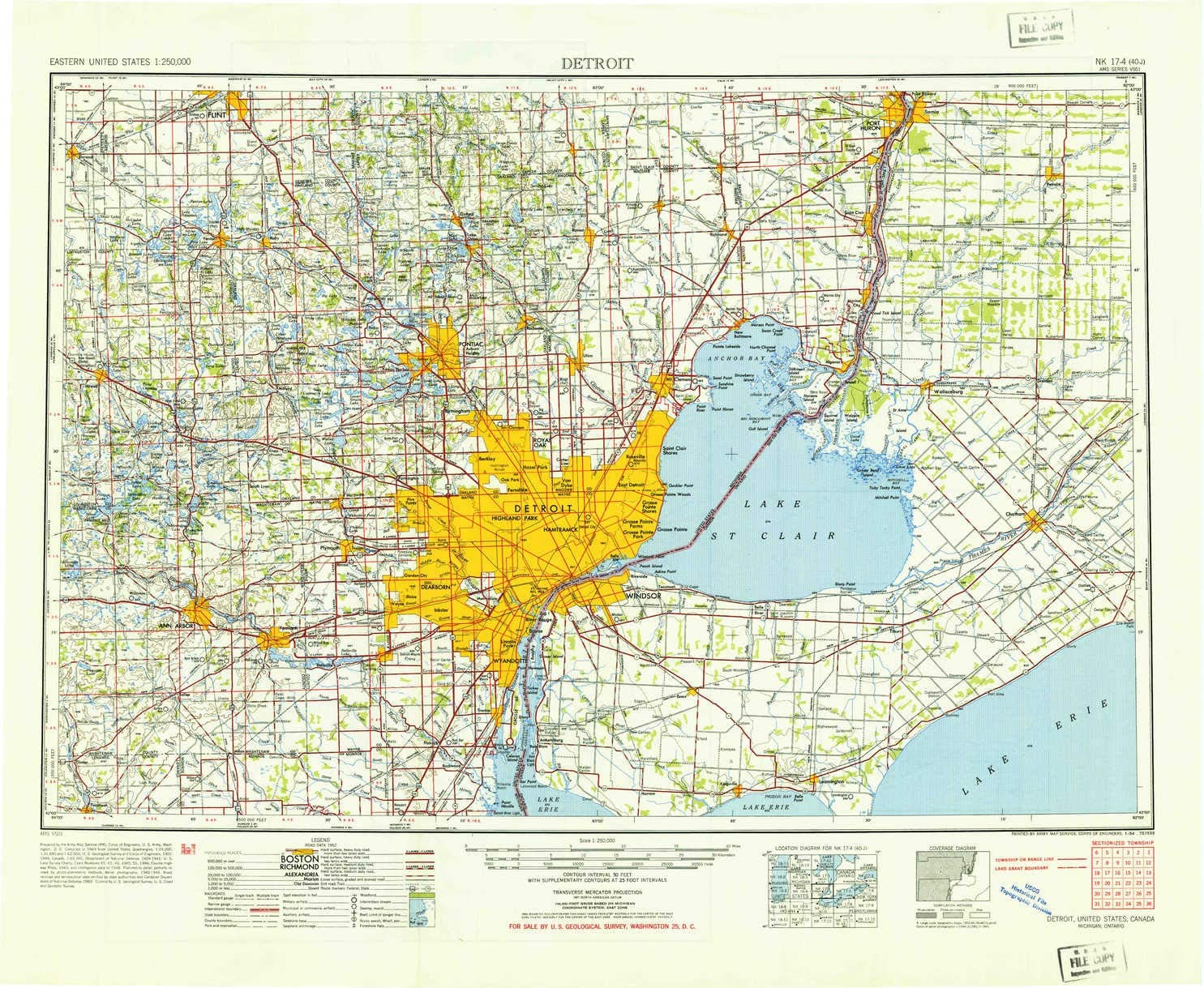 Great Lakes Detroit etc Beautiful 5 x 7 Postcard Canada State Map of Michigan
