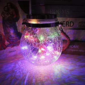 X-PREK Solar Lanterns, Thick Crack Glass Mason Jar LED Outdoor Hanging Waterproof Table Lamps Décor for Garden Patio Yard Home Party Lawn (Four-Color)