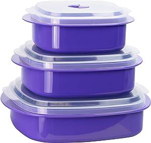 Calypso Basics by Reston Lloyd 6-Piece Microwave Cookware, Steamer and Storage Set, Purple