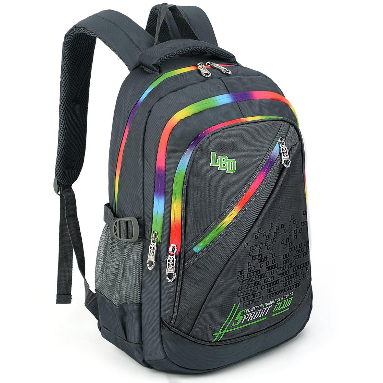 UTO Backpack Nylon Child Teenager Rucksack Primary Junior School Bookbag 520 Grey