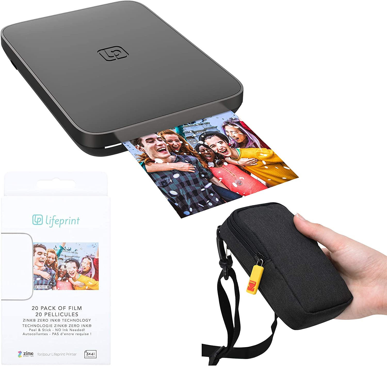 Lifeprint 3x4.5 Portable Photo and Video Printer (Black) Travel Kit
