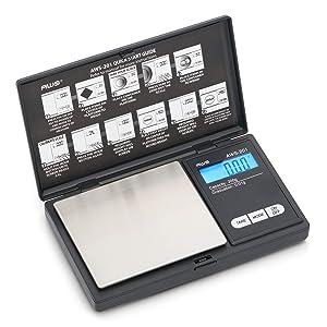 AWS Series Digital Pocket Weight Scale 200g x 0.01g, (Black), AWS-201-BLK