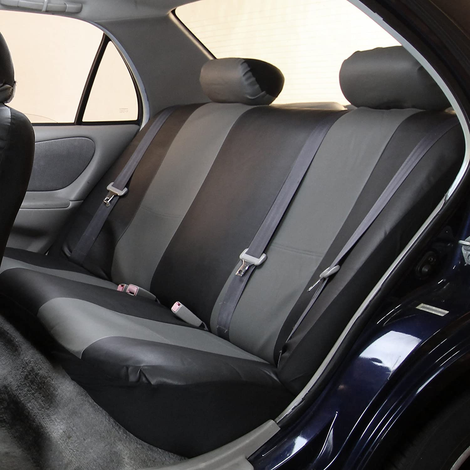 Amazon.com: FH PU001114 PU Leather Car Seat Covers Gray / Black Color:  Automotive