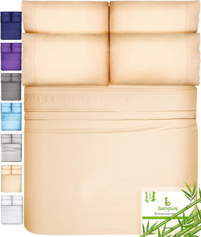 6 Piece Bamboo Sheets King Size Sheets - 100% Organic Bamboo King Sheets Cooling Sheets King Deep Pocket King Bed Sheets King Size Sheet Set King Size Bed Sheets Extra Deep Pocket King Sheets Sand