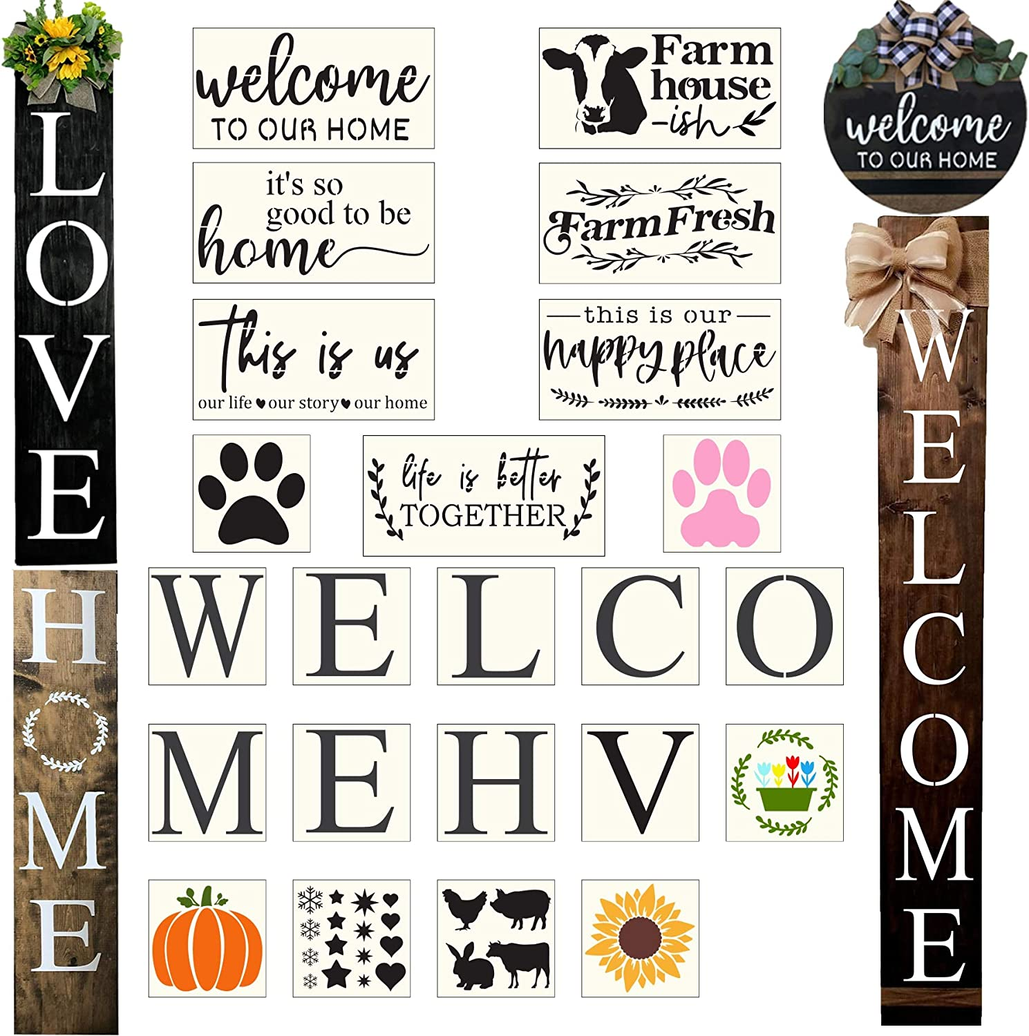 23PCS Large Letter Welcome Stencils for Painting On Wood Reusable Farmhouse Signs Stencils for Wood-Cursive Letter Stencils-Sunflower Stencil Paw Stencil Word Stencils for Sign