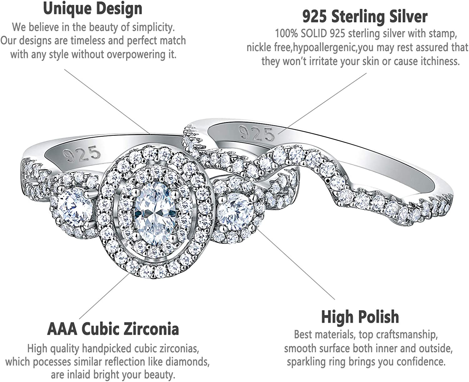 Newshe Engagement Rings for Women Wedding Ring Bands Set 925 Sterling Silver 1.8Ct Cz Oval Size 5-10
