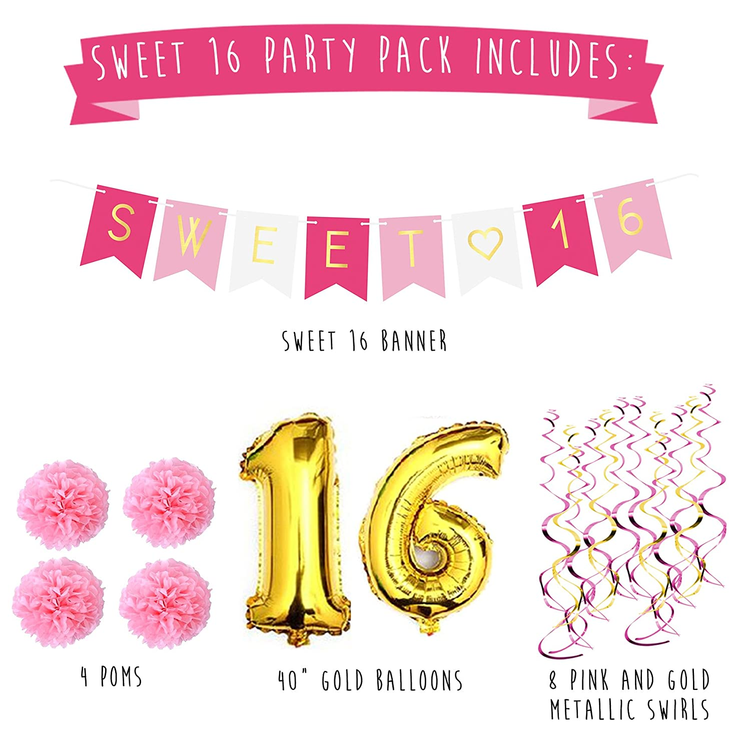sweet 16 birthday party pack sweet sixteen decorations party