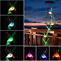 Solar Hummingbird Wind Chimes Outdoor - Hottly LED Changing Light Color Mobile Wind Chime, Waterproof Six Hummingbird Wind Chimes For Home,Party,Night Garden Decoration