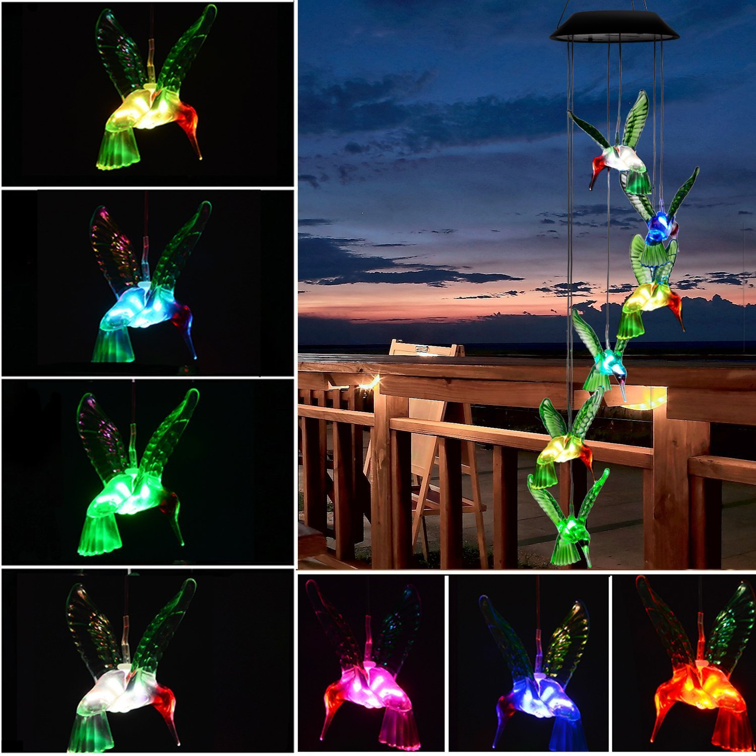 Hottly Hummingbird Wind Chimes Solar Outdoor LED Changing Light Colo