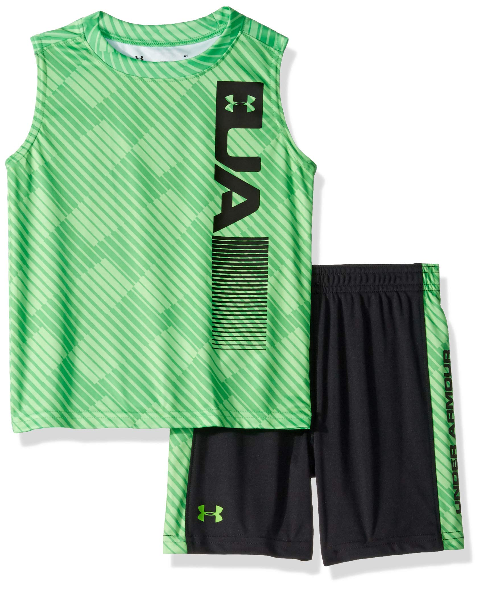 Under Armour Boys' Baby UA Muscle Tank and Short Set, Zap Green-S19, 12M