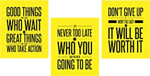 Motivational Home Wall Art Decor Set For Boys Girls Students   Photo Pictures Signs Sayings Aesthetic Posters Prints for Study Room Bedroom Office Classroom Dorm House College   UNFRAMED Quote Decorations and Accessories   Workout Sports Boy Girl Teen Fitness Room Gym Entrepreneur Amarillo (8 x 10 Yellow)