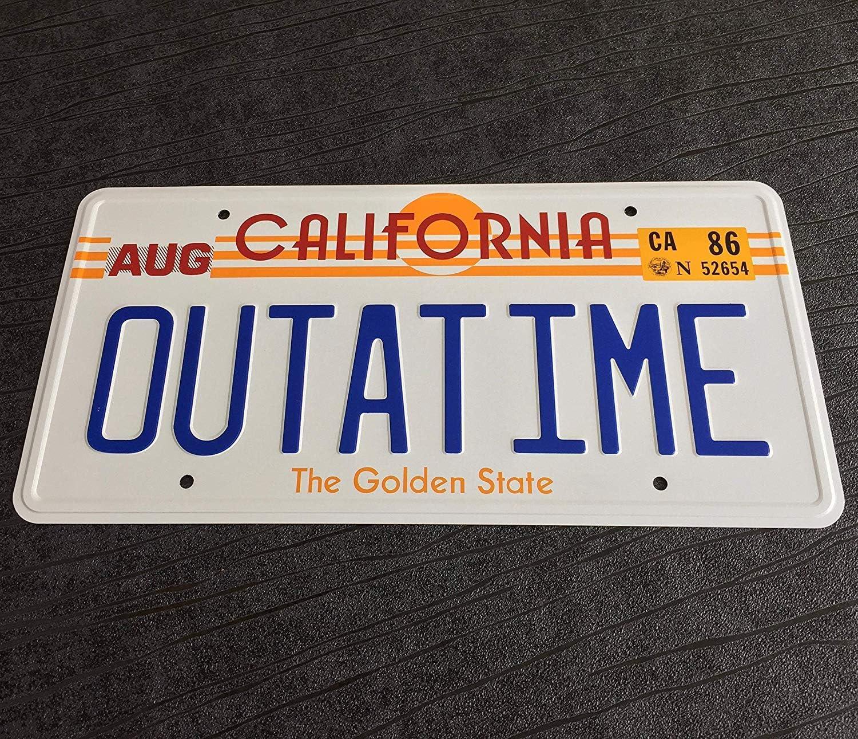 Back to the Future OUTATIME License Plate. Placa de matrícula de OUTATIME Back To The Future propulsora, Regreso al futuro Placa numérica como se ve en Marty McFly y Doc Browns DMC-12