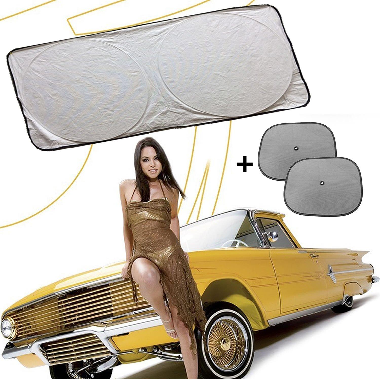 99/% Sun Heat /& UV Rays Protection Premium Quality Solar Car Windshield Sunshade Sunshield Unbreakable TYVEK 2 FREE Bonus Side Shades Perfect for kids // Children Jumbo Size 60/'/' by 32/'/' Kingdom Holdings