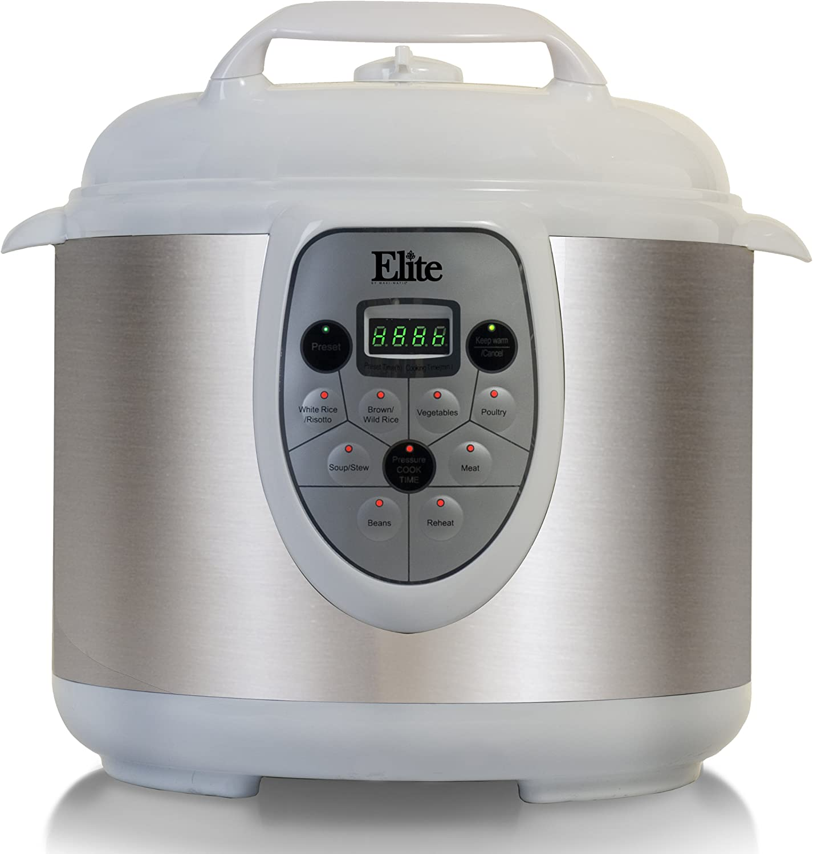 Elite Platinum EPC-608W Maxi-Matic 6 Quart Electric Pressure Cooker, White (Stainless Steel)