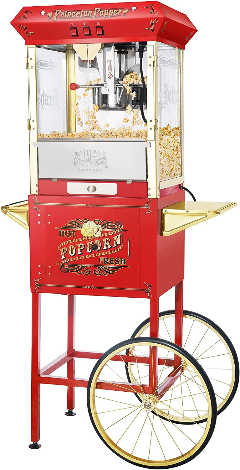 Amazon Com 6030 Great Northern Red Antique Style 8oz Popcorn Popper Machine With Cart 8 Ounce Electric Popcorn Poppers Kitchen Dining