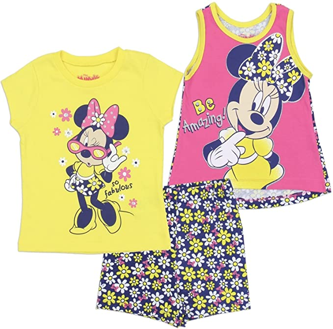 Minnie Mouse Cotton Girls 3-Piece Set Yellow and Pink