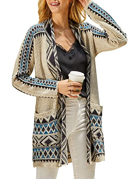 Misassy Womens Aztec Tribal Cardigan Sweaters Open Front