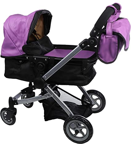 9651B Pink And Purple Mommy /& Me Doll Collection Babyboo Deluxe Doll Pram Color Pink and Purple with Swiveling Wheels /& Adjustable Handle and Free Carriage Bag
