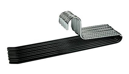 CORTEC 10 x perchas para pantalones (de metal con revestimiento de goma antideslizante en negro
