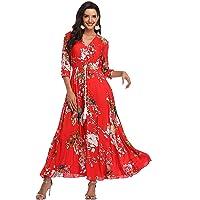 BestWendding Summer Floral Print Maxi Dress Women Button Up Split Long Flowy Bohemian Beach Party Dresses