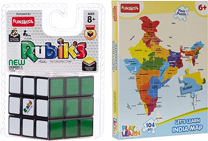 Funskool-Rubiks Cube + Play & Learn World Map Puzzles